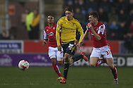 Middlesbrough midfielder, on loan from Southampton, Gaston Ramirez (21) races with Rotherham United midfielder Richard Smallwood (33)  during the Sky Bet Championship match between Rotherham United and Middlesbrough at the New York Stadium, Rotherham, England on 8 March 2016. Photo by Simon Davies.