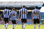 Sheffield Wednesday defender Daniel Pudil (36) and Sheffield Wednesday striker Fernando Forestieri (45) after opening goal during the Sky Bet Championship match between Sheffield Wednesday and Cardiff City at Hillsborough, Sheffield, England on 30 April 2016. Photo by Phil Duncan.