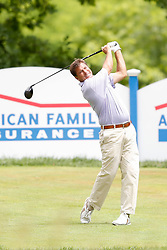 June 22, 2018 - Madison, WI, U.S. - MADISON, WI - JUNE 22:Gibby Gilbert III tees off on the eighteenth tee during the American Family Insurance Championship Champions Tour golf tournament on June 22, 2018 at University Ridge Golf Course in Madison, WI. (Photo by Lawrence Iles/Icon Sportswire) (Credit Image: © Lawrence Iles/Icon SMI via ZUMA Press)