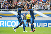 FOOTBALL - FRIENDLY GAME 2012 - FRANCE v SERBIA - REIMS (FRANCE) - 31/05/2012 - PHOTO JEAN MARIE HERVIO / REGAMEDIA / DPPI - JOY FLORENT MALOUDA (FRA) AFTER HIS GOAL WITH ALOU DIARRA