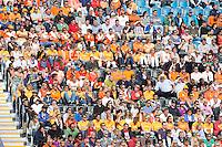 LONDEN - Medewerkers van de Hockeybond op de tribune, maandag in de hockey wedstrijd tussen de mannen van Nederland en India tijdens de Olympische Spelen in Londen .ANP KOEN SUYK