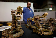 SWEETWATER, TX - MARCH 14: Western diamondback rattlesnake souvenirs on display during the 51st Annual Sweetwater Texas Rattlesnake Round-Up, March 14, 2009 in Sweetwater, Texas. Approximately 24,000 pounds of rattlesnakes will be collected, milked for venom and the meat served to support charity. (Photo by Richard Ellis)