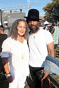 """August 27, 2016- Brooklyn, New York-United States: (L-R) Producer Gina Belafonte and Recording Artist Cody ChestNutt attend the 2016 AfroPunk Brooklyn Concert Series held at Commodore Barry Park on August 27, 2016 in Brooklyn, New York City. Described by some as """"the most multicultural festival in the US,"""" which includes an eclectic line-up and an audience as diverse as the acts they come to see. (Photo by Terrence Jennings/terrencejennings.com)"""
