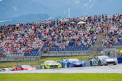 09.06.2019, Red Bull Ring, Spielberg, AUT, ADAC GT Masters Spielberg, Rennen, im Bild v.l.: Maximilian Goetz (GER)/Indy Dontje (NLD) Mercedes AMG GT3, Sven Barth (GER)/David Jahn (GER) Corvette C7 GT3-R, Markus Pommer (GER)/Marvin Kirchhoefer (GER) Corvette C7 GT3-R // f.l.: German ADAC GT Masters driver Maximilian Goetz/Dutch ADAC GT Masters driver Indy Indy Dontje Mercedes AMG GT3 German ADAC GT Masters driver Sven Barth/German ADAC GT Masters driver David Jahn Corvette C7 GT3-R German ADAC GT Masters driver Markus Pommer/German ADAC GT Masters driver Marvin Kirchhoefer Corvette C7 GT3-R during the Race for the ADAC GT Masters at the Red Bull Ring in Spielberg, Austria on 2019/06/09. EXPA Pictures © 2019, PhotoCredit: EXPA/ Dominik Angerer