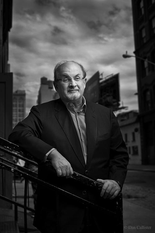 Author Salman Rushdie in New York City by photographer Dan Callister