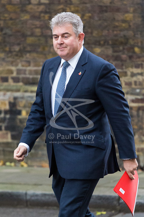 London, October 31 2017. Minister of State for Immigration Brandon Lewis attends the UK cabinet meeting at Downing Street. © Paul Davey