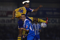Photo: Ashley Pickering/Sportsbeat Images.<br /> Colchester United v Leicester City. Coca Cola Championship. 03/11/2007.<br /> Danny Granville of Colchester (blue stripes) and Collins John of Leicester