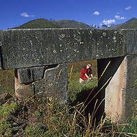 Cordillera Vilcabamba, Andes Mountains, Peru. Cordillera Vilcabamba, Andes Mountains, Peru. Ben Wiltsie examines ancient doorway at Vitcos, last stronghold of Manco Inca, who held out two decades after Spanish conquest of Cuszco.
