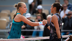 May 30, 2019 - Paris, FRANCE - Anna Blinkova of Russia & Caroline Garcia of France at the net after their second-round match at the 2019 Roland Garros Grand Slam tennis tournament (Credit Image: © AFP7 via ZUMA Wire)