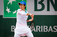 Shuai Zhang of China in action against Madison Keys of the United States during the first round at the Roland Garros 2020, Grand Slam tennis tournament, on September 28, 2020 at Roland Garros stadium in Paris, France - Photo Rob Prange / Spain ProSportsImages / DPPI / ProSportsImages / DPPI