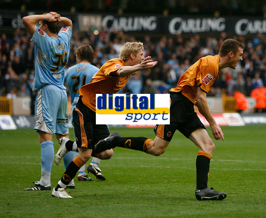 Photo: Steve Bond.<br />Wolverhampton Wanderers v Coventry City. Coca Cola Championship. 06/10/2007.  Neill Collins (R) celebrates with Andy Keogh (C) in hot pursuit.  Ben Turner (L) looks dismayed