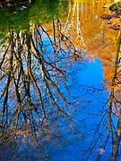 Fall serene reflections on Wyomissing Creek, Wyomissing, Berks Co., PA