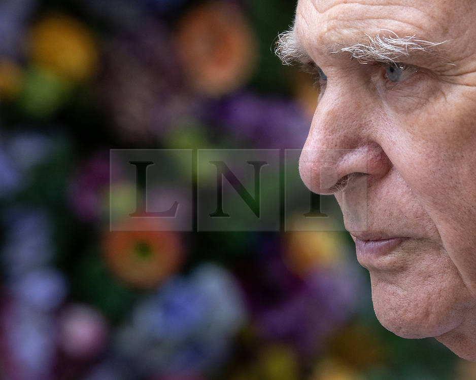 """© Licensed to London News Pictures. 20/06/2019. Manchester, UK. In one of his last actions as Liberal Democrat Party leader , SIR VINCE CABLE meets Big Issue sellers in Manchester City Centre . The party say they are highlighting what they call a """" Homeless Tax """" , which they oppose , and which could see fines of up to £1,000 imposed upon the homeless by Manchester City Council . The final Local Government Information Unit (LGiU) report from the Local Government Homelessness Commission (LGHC) – a year-long initiative set up to investigate how councils can fulfil their obligation to prevent homelessness - is due to be published . The Liberal Democrats will appoint a new leader in July . Photo credit: Joel Goodman/LNP"""
