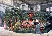 Visitors to the Horticulture Exposition, Cours de la Reine, Paris, admiring a floral display. From 'Le Petit Journal, Paris, 11 June 1892.
