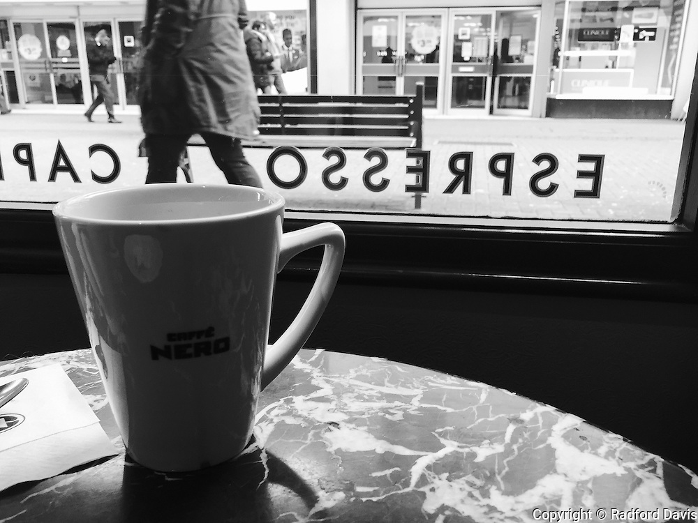 Coffee shop. Black and white.