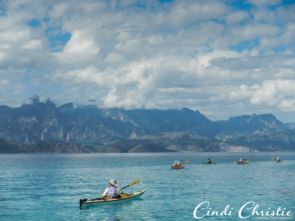 Kayakers make their way from one stop to the next while on an eight-day tour of the Sea of Cortez  on Wednesday, Oct. 28, 2015, near Loreto, Mexico.  (© 2015 Cindi Christie/Cyanpixel)