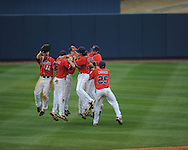 Ole Miss players celebrate following a comeback win vs. Lipscomb at Oxford-University Stadium in Oxford, Miss. on Sunday, March 10, 2013. Ole Miss won 9-8. The Rebels improve to 16-1.