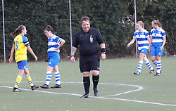 "EXCLUSIVE: **NO WEB UNTIL 6pm GMT 20th August** The world's first transgender ref made her debut at QPR's training ground in London. Taxi driver Lucy Clark, 46, took charge of hundreds of non-league games as Nick but revealed at the weekend how she felt trapped in a man's body. Lucy, who has three kids, reffed QPR's female youth team v Parkwood Ladies at the Championship side's West London training ground. QPR's Jess Painter said after her side's 4-2 win: ""The ref was great — one of the best we've ever had."" With a pink whistle and a ponytail, the arm-tattooed official formerly known as Nick booked one woman for a scything tackle in the second half during the home side's 4-2 win. Lucy was watched by supportive wife Avril from the sidelines and Kellie Moloney, the former boxing promoter called Frank who became a woman. Dressed all in black, Lucy showed no nerves officiating during the London and South East Women's Football's Premier League opening day clash. 18 Aug 2018 Pictured: Lucy Clark. Photo credit: W8Media / MEGA TheMegaAgency.com +1 888 505 6342"
