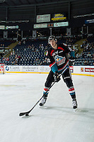 KELOWNA, CANADA - NOVEMBER 12: Braydyn Chizen #22 of the Kelowna Rockets warms up with the puck against the Prince Albert Raiders  on November 12, 2016 at Prospera Place in Kelowna, British Columbia, Canada.  (Photo by Marissa Baecker/Shoot the Breeze)  *** Local Caption *** Braydyn Chizen;