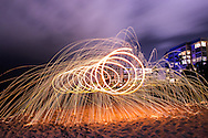 Spinning steel wool on the beach in Naples, Florida.