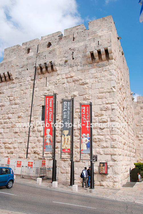 The walls of the old city banners advertising an exhibition at the Tower of David May 2008
