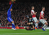 Football - 2018 / 2019 Premier League - Arsenal vs. Leicester City<br /> <br /> Jamie Vardy of Leicester celebrates Ben Chilwell's goal as Arsenal goalkeeper, Bernd Leno is left stranded, at The Emirates.<br /> <br /> COLORSPORT/ANDREW COWIE