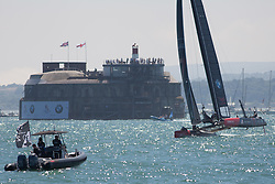 © Licensed to London News Pictures. 23/07/2016. Portsmouth, United Kingdom.  Oracle Team USA competing in the first day of racing for the America's Cup World Series (ACWS) in Portsmouth this weekend, 22nd-24th July 2016. British Olympic sailing legend, Sir Ben Ainslie, is leading his all-British team, Land Rover BAR, against other teams in a battle to qualify for a place in the two team America's Cup final, to be held in Bermuda in 2017. Photo credit: Rob Arnold/LNP