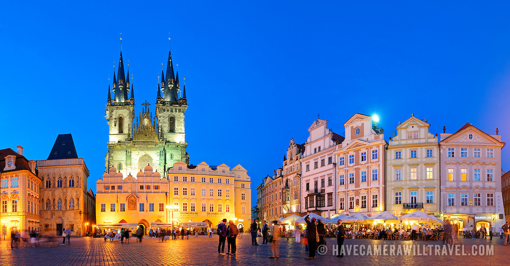 Prague's Old Town Square at night with the Tyn Cathedral at left