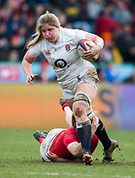 England Women's Poppy Cleallin action during todays match<br /> <br /> Photographer Bob Bradford/CameraSport<br /> <br /> 2020 Women's Six Nations Championship - England v Wales - Saturday 7th March 2020 - The Stoop - London<br /> <br /> World Copyright © 2020 CameraSport. All rights reserved. 43 Linden Ave. Countesthorpe. Leicester. England. LE8 5PG - Tel: +44 (0) 116 277 4147 - admin@camerasport.com - www.camerasport.com