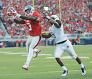 Mississippi Rebels wide receiver Damore'ea Stringfellow (3) makes a touchdown catch against Vanderbilt Commodores cornerback Torren McGaster (5) at Vaught-Hemingway Stadium at Ole Miss in Oxford, Miss. on Saturday, September 26, 2015. (AP Photo/Oxford Eagle, Bruce Newman)