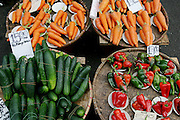 Carrots, cucumbers, peppers and other vegetables for sale at the Divisoria market, Manila, Philippines. (Supporting image from the project Hungry Planet: What the World Eats.) Small markets are still the lifeblood of communities in the developing world.