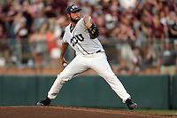 TCU's Mitchell Traver (33) throws to home against Texas A&M during the first inning of a NCAA college baseball Super Regional tournament game, Saturday, June 11, 2016, in College Station, Texas. (AP Photo/Sam Craft)