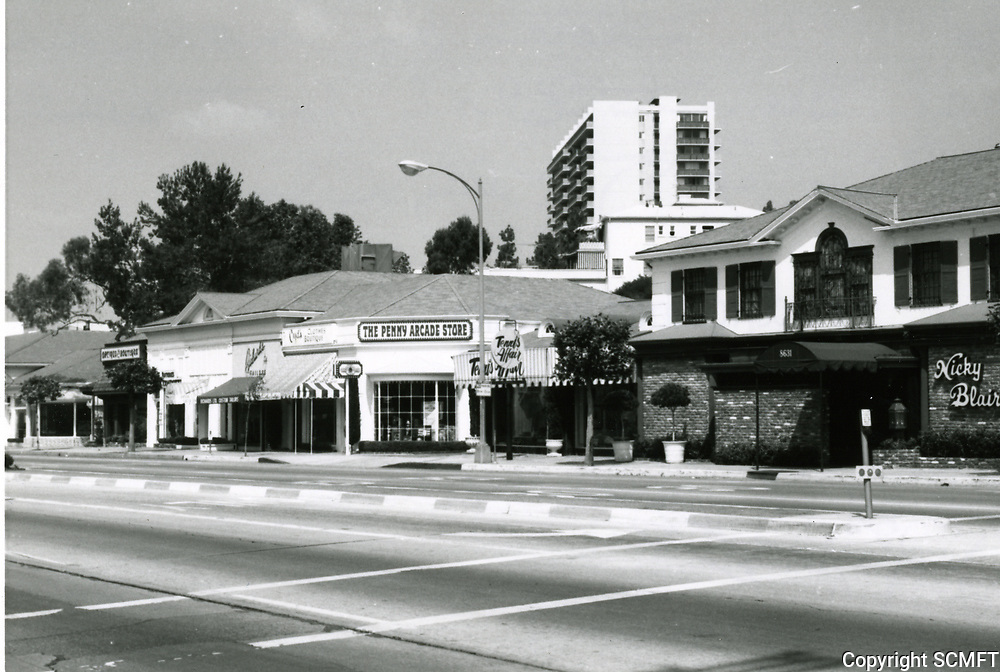 1973 The Penny Arcade Store and Nicky Blair's Restaurant on Sunset Blvd. & Sunset Plaza Dr.