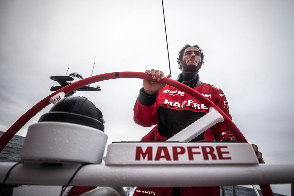 Leg 02, Lisbon to Cape Town, day 18, on board MAPFRE, Blair Tuke stearing. Photo by Ugo Fonolla/Volvo Ocean Race. 22 November, 2017