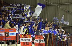 Fans of Villach at ice hockey match Acroni Jesencie vs EC Pasut VSV. in EBEL League,  on November 23, 2008 in Arena Podmezaklja, Jesenice, Slovenia. (Photo by Vid Ponikvar / Sportida)
