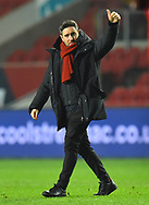 Bristol City manager Lee Johnson gives a thumbs up to the fans at full time after a 2-1 win over Bolton during the The FA Cup fourth round match between Bristol City and Bolton Wanderers at Ashton Gate, Bristol, England on 25 January 2019.