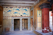 Dolphin Freco of the Queens Megaron, Knossos Palace Archaeological Site, Crete ..<br /> <br /> Visit our GREEK HISTORIC PLACES PHOTO COLLECTIONS for more photos to download or buy as wall art prints https://funkystock.photoshelter.com/gallery-collection/Pictures-Images-of-Greece-Photos-of-Greek-Historic-Landmark-Sites/C0000w6e8OkknEb8 <br /> .<br /> Visit our MINOAN ART PHOTO COLLECTIONS for more photos to download  as wall art prints https://funkystock.photoshelter.com/gallery-collection/Ancient-Minoans-Art-Artefacts-Antiquities-Historic-Places-Pictures-Images-of/C0000ricT2SU_M9w