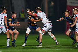 Sam Moore of Sale Sharks is tackled by Dean Hammond of Worcester Warriors - Mandatory by-line: Craig Thomas/JMP - 03/11/2017 - RUGBY - Sixways Stadium - Worcester, England - Worcester Warriors v Sale Sharks - Anglo Welsh Cup