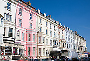 Terrace of colourful hotels and cafes, Bridlington, Yorkshire, England