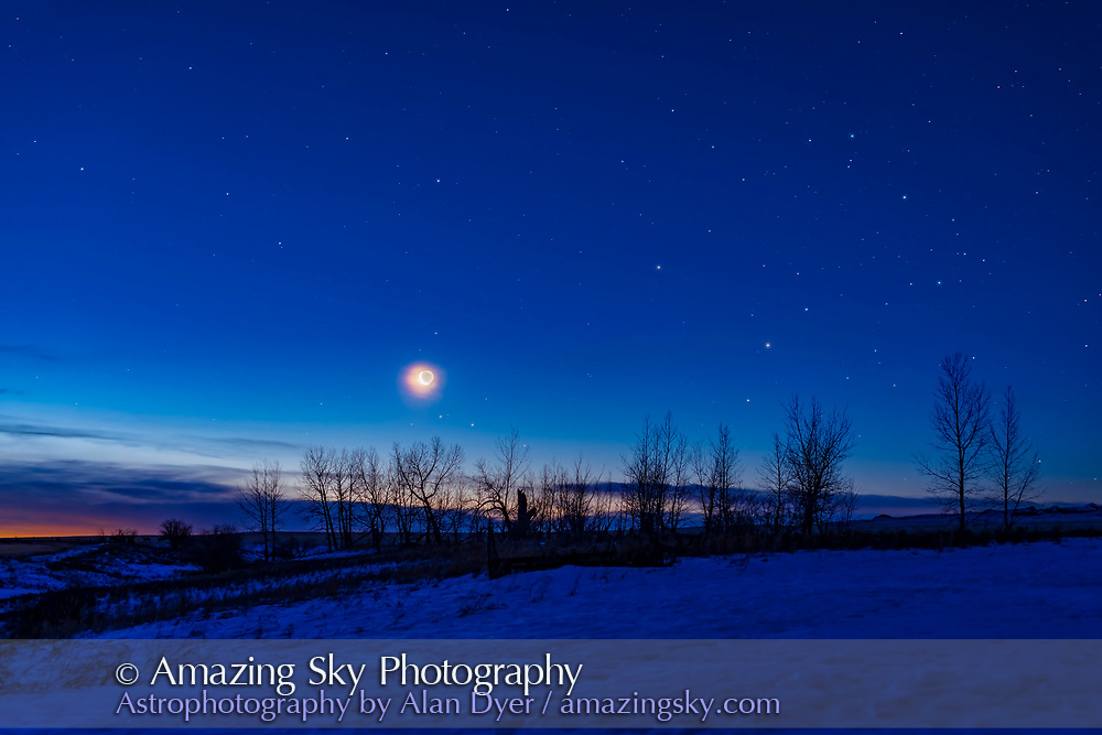"""Scorpius in the snow! We normally associate Scorpius with the spring and summer months, but here he is creeping into the sky before sunrise on a January morning in winter. <br /><br />On this morning Scorpius was home to a gathering of the waning crescent Moon east of Mars (near centre) which is above equally red Antares in Scorpius, with the head of Scorpius at right, as it rises into the winter dawn sky, on January 21, 2020.  Antares is considered the """"rival of Mars"""" as they are both red. Mars was just beginning its excellent apparition for the year of 2020, but was still dim and far away at this point in its orbit. The Moon was close to Mars the morning before but it was cloudy! <br /><br />This is an exposure blend of long exposures for the sky and ground and short exposures for the Moon to reduce it brightness and make its disk and Earthshine more visible, especially with it in thin cloud. All were with the 50mm Sigma lens on the Canon EOS Ra."""