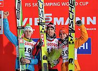 Hopp , 19. januar 2014 , WC Zakopane ZAKOPANE,POLEN,19.JAN.14 - SKI NORDISCH, SKISPRINGEN - FIS Weltcup der Herren, Siegerehrung. Bild zeigt Peter Prevc (SLO), Anders Bardal (NOR) and Richard Freitag (GER). <br /> <br /> Norway only