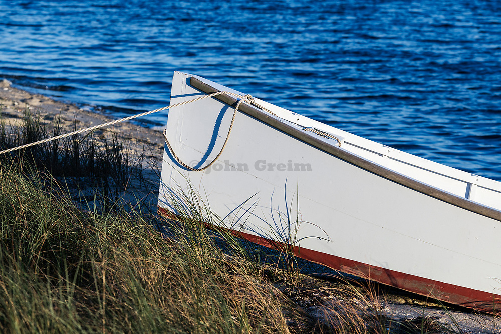 Rowboat on marsh grass, Martha's Vineyard, Massachusetts, USA.