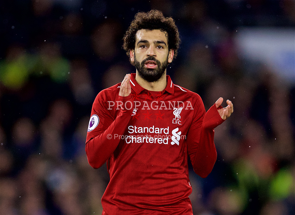 BRIGHTON AND HOVE, ENGLAND - Saturday, January 12, 2019: Liverpool's Mohamed Salah applauds the supporters after the FA Premier League match between Brighton & Hove Albion FC and Liverpool FC at the American Express Community Stadium. Liverpool won 1-0. (Pic by David Rawcliffe/Propaganda)
