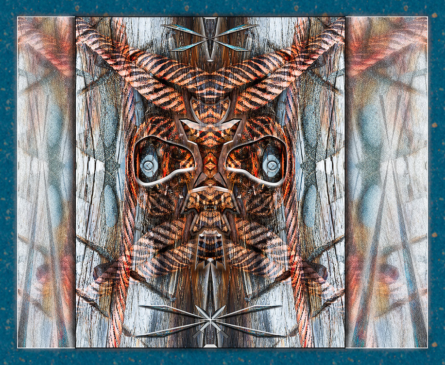 """""""Salish Mariner Mask"""", derivative image created from a photo of an abstract design of log boom tether cables, overcast light, June, Ediz Hook, Olympic Peninsula, Port Angeles Harbor, WA, USA"""