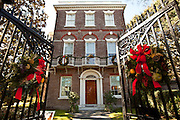 Historic Nathaniel Russell House decorated for Christmas in Charleston, SC.