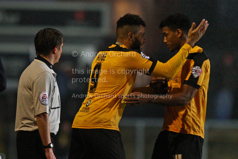 Rene Howe of Newport County (9) comes on as a substitute for Shaun Jeffers. Skybet football league two match, Newport County v Plymouth Argyle at Rodney Parade in Newport, South Wales on Boxing Day, Friday 26th December 2014<br /> pic by Mark Hawkins, Andrew Orchard sports photography.