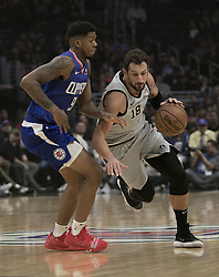 November 15, 2018 - Los Angeles, California, U.S - Tyrone Wallace #9 of the Los Angeles Clippers tries to block Marco Belinelli #18 of the San Antonio Spurs during their NBA game on Thursday November 15, 2018 at the Staples Center in Los Angeles, California. Clippers defeat Spurs, 116-111. (Credit Image: © Prensa Internacional via ZUMA Wire)
