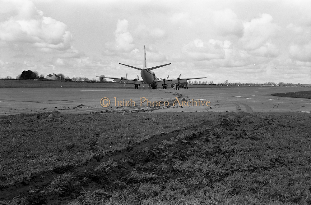 29/03/1963<br /> 03/29/1963<br /> 29 March 1963<br /> B.E.A. Aircrash at Dublin Airport. The crashed BEA Vanguard G-APEJ that carried 43 passengers and seven crew from London to Dublin ploughed its way through half a mile of grassland before returning to the concrete runway, when its front undercarriage appeared to have failed on arrival at Dublin Airport. There were no fatalities in the accident. The path of the aircraft can be seen in the trail of earth across the runway. Note the Airport Fire Service vehicle a Thorneycroft Sun Foam Tender. Photos, Photo, Snap, Streets, Street,