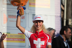 Jolanda Neff (Servetto Footon Cycling Team) smiles on the podium, after finishing third in the Trofeo Alfredo Binda - a 123.3km road race from Gavirate to Cittiglio on March 20th 2016.