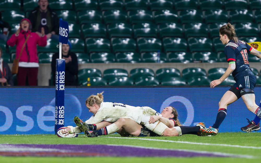Danielle Waterman scores a try, England Women v France Women in a 6 Nations match at Twickenham Stadium, London, England, on 4th February 2017 Final Score 26-13.